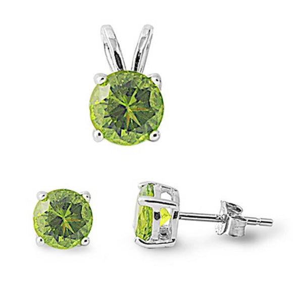 Round 2.20 ct Peridot Earrings And Pendant Set - Best Jewelry Deals