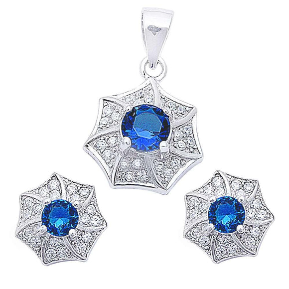 Designer Pave & Round 4.00 ct Blue Sapphire & White Topaz Earrings & Pendant Set - Best Jewelry Deals