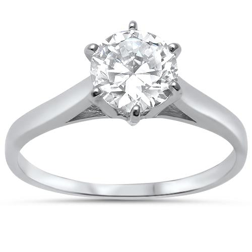 Round 1.30 ct Solitaire White Topaz Ring - Best Jewelry Deals