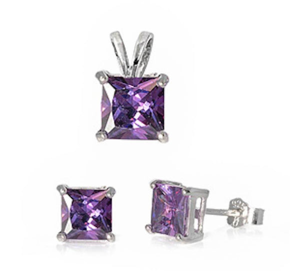 Princess 3.20 ct Amethyst Earrings And Pendant Set - Best Jewelry Deals
