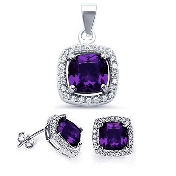 Amethyst & White Topaz Halo Earrings & Pendant Set - Best Jewelry Deals