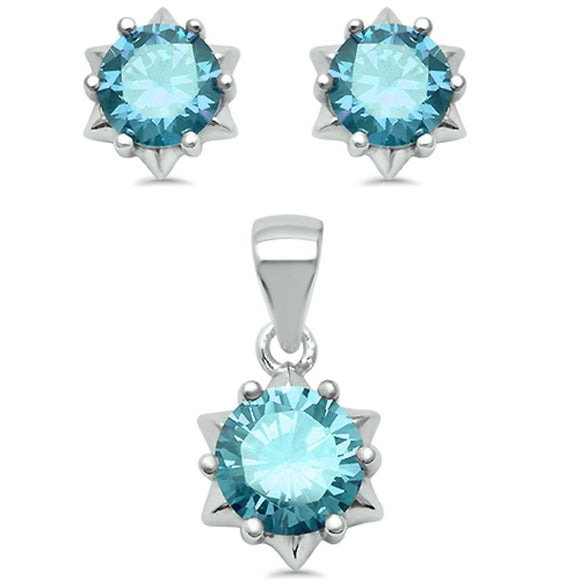 Gorgeous Aquamarine Solitaire Pendant & Earrings Set - Best Jewelry Deals