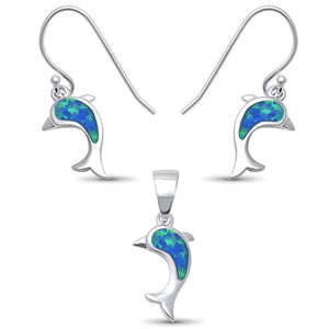 "Blue Opal .5"" Dolphin Earrings & Pendant Set - Best Jewelry Deals"
