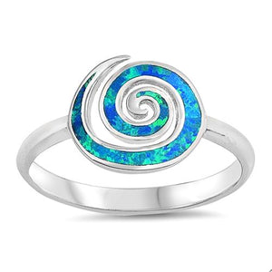 Trendy Blue Fire Opal Spiral Designer Ring - Best Jewelry Deals