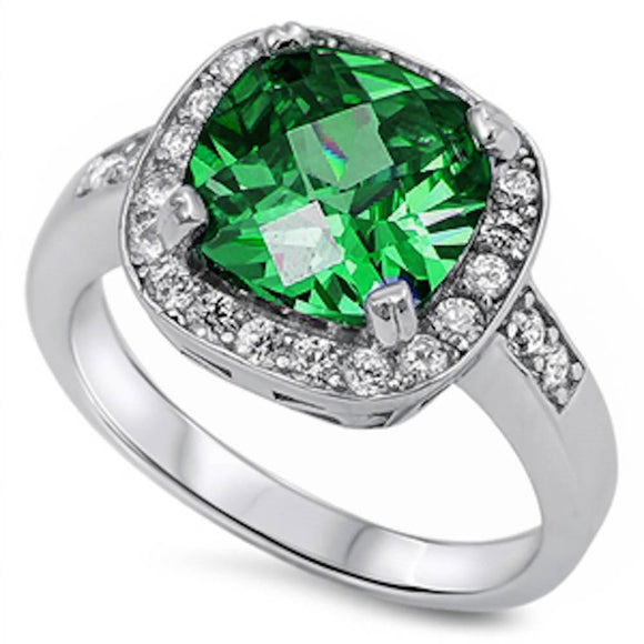 Cushion Cut 3.20 ct Emerald & White Topaz Halo Style Ring - Best Jewelry Deals