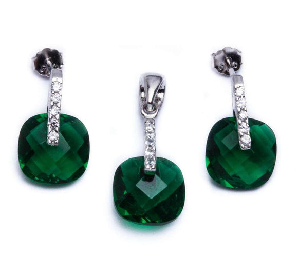 Cushion Cut Green Emerald & White Topaz Earrings & Pendant Jewelry Set - Best Jewelry Deals