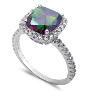 Cushion Cut 1.40 ct Rainbow Mystic Topaz Ring - Best Jewelry Deals