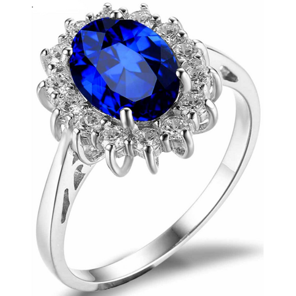 Oval 3.20 ct Blue Sapphire Princess Diana Style Ring - Best Jewelry Deals