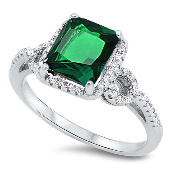 Emerald Cut 1.55 ct Emerald & White Topaz Ring - Best Jewelry Deals