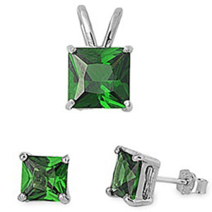 Princess 3.20 ct Emerald & White Topaz Earrings & Pendant Set - Best Jewelry Deals