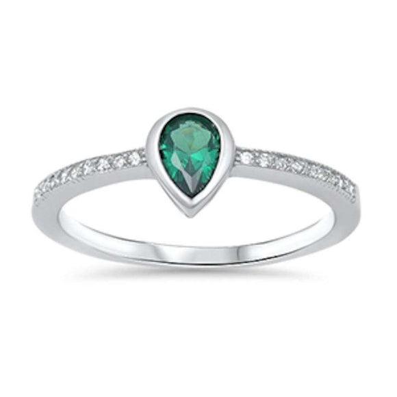 Pear Shape Emerald & White Topaz Ring - Best Jewelry Deals