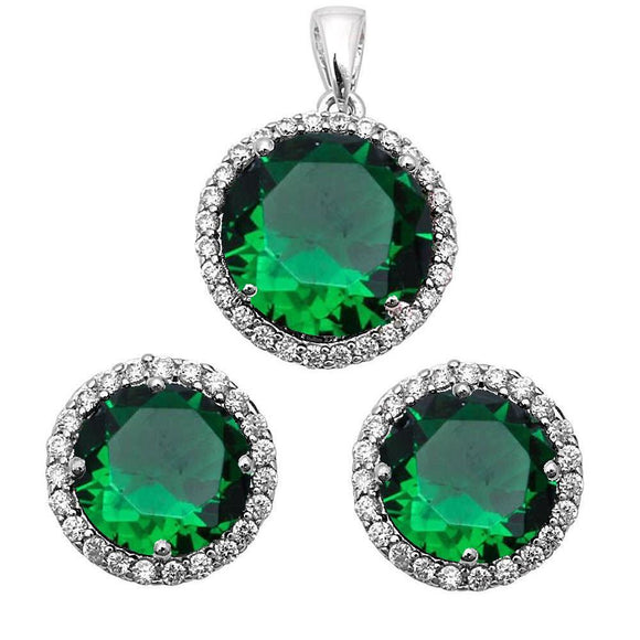 Halo 3.00 ct Emerald & White Topaz Earrings & Pendant Set - Best Jewelry Deals