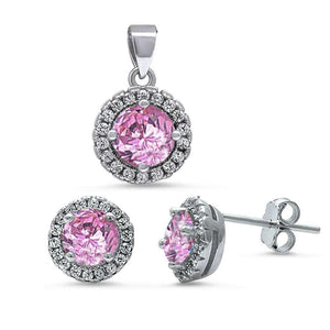 Halo 3.20 ct Pink & White Topaz Pendant & Earrings Set - Best Jewelry Deals