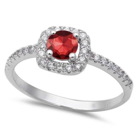 Halo Round Cut 1.40 ct Ruby & White Topaz Ring - Best Jewelry Deals