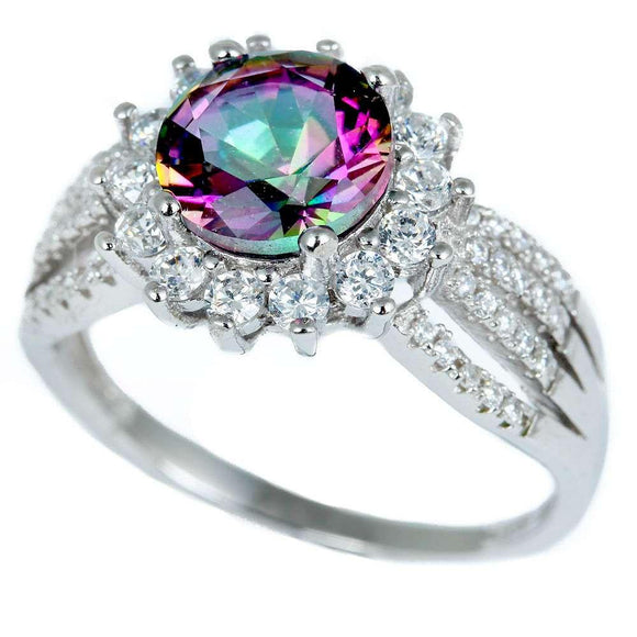 Gorgeous Halo Style Rainbow Mystic Topaz & White Sapphire Ring - Best Jewelry Deals