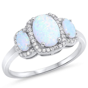 Tri-Stone Oval White Fire Opal & White Topaz Ring - Best Jewelry Deals