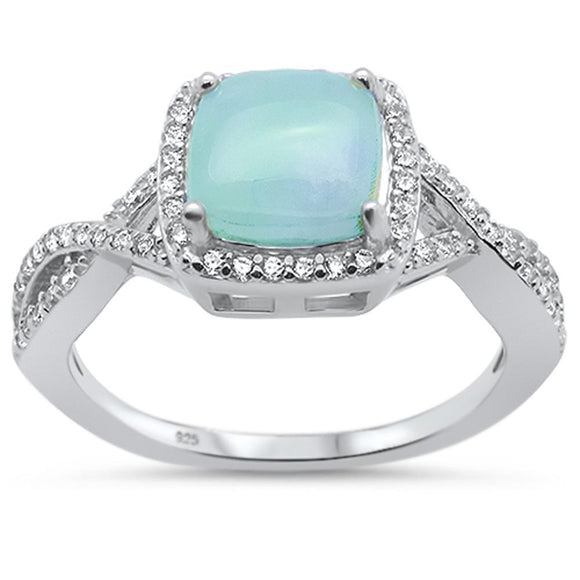 Natural Cushion Cut Larimar & Twisted White Topaz Band Ring - Best Jewelry Deals