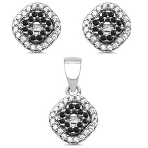 Designer Black Onyx & White Topaz Earrings And Pendant Set - Best Jewelry Deals