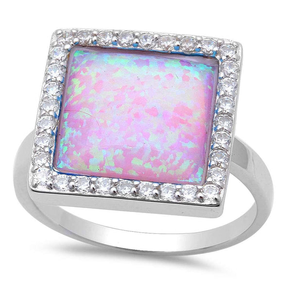 XL Pink Fire Opal & White Topaz Square Ring - Best Jewelry Deals