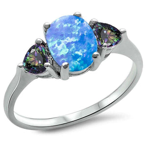 Oval Blue Opal & Heart Cut Rainbow Mystic Topaz Ring - Best Jewelry Deals