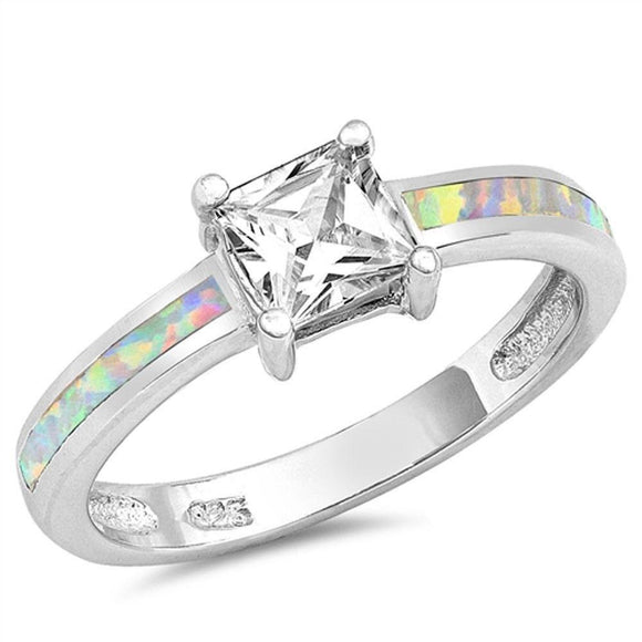 Princess Cut White Topaz & White Fire Opal Ring - Best Jewelry Deals