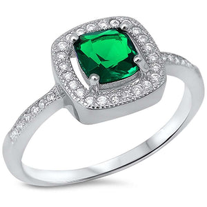 Princess Cut 1.25 ct Emerald & Pave White Topaz Ring - Best Jewelry Deals