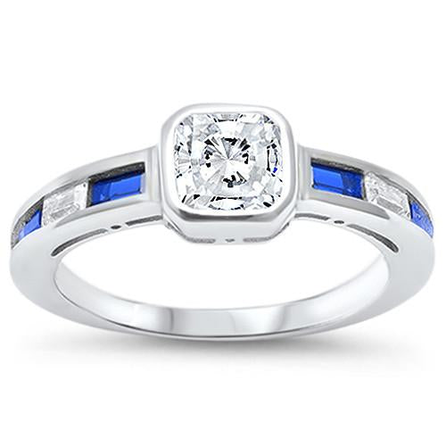 Princess Cut White Sapphire with Blue Sapphires Ring - Best Jewelry Deals