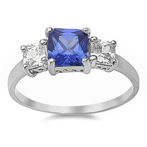 Princess Cut Tanzanite & White Topaz Ring - Best Jewelry Deals