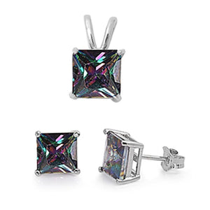 Princess 3.20 ct Rainbow Mystic Topaz Earrings And Pendant Set - Best Jewelry Deals