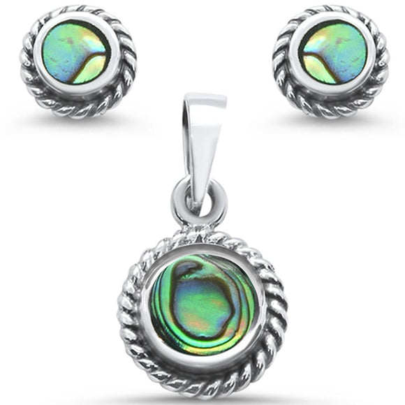 Round Abalone Antique Designer Earrings & Pendant Set - Best Jewelry Deals