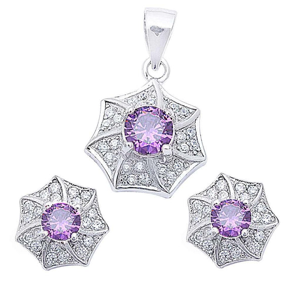 Designer Pave & Round 4.00 ct Amethyst & White Topaz Earrings & Pendant Set - Best Jewelry Deals