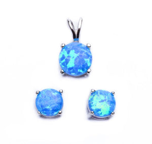 Round Cut Blue Fire Opal Earrings & Pendant Set - Best Jewelry Deals