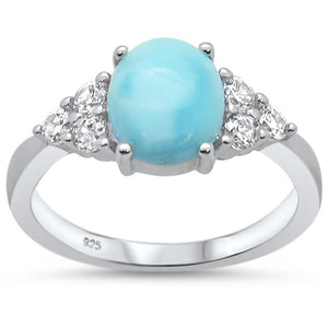 Natural Oval Shape Larimar with Adjacent Round White Topaz Ring - Best Jewelry Deals