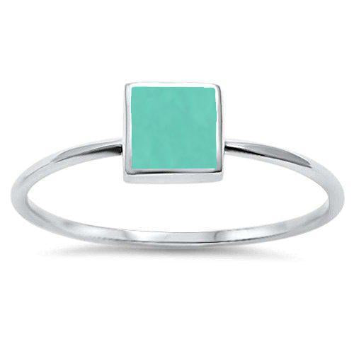 Square Shape Turquoise Modern Ring - Best Jewelry Deals