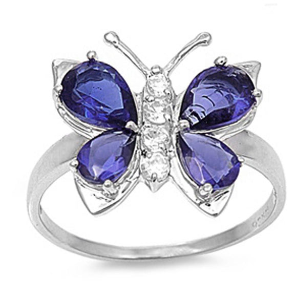 Pear Cut Tanzanite & White Topaz Beautiful Butterfly Ring - Best Jewelry Deals