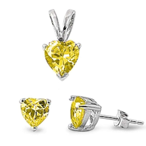 Heart Cut 3.30 ct Yellow Topaz Heart Earrings & Pendant Set - Best Jewelry Deals