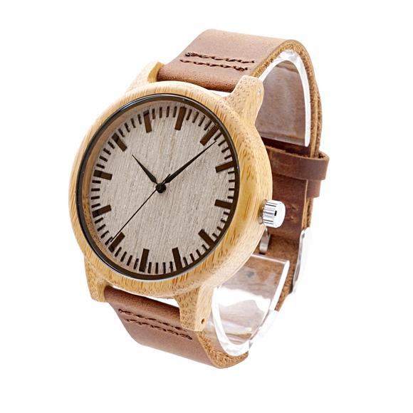 BOBO BIRD Men's High Quality Light Stain Natural Bamboo Watch - Best Jewelry Deals