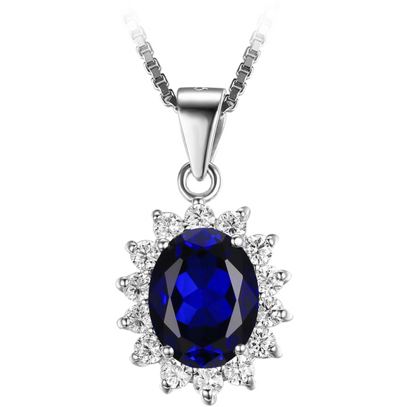 Oval 3.20 ct Blue Sapphire Princess Diana Style Pendant - Best Jewelry Deals
