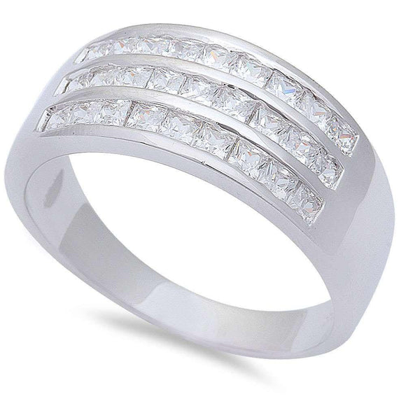 Men's 1.00 ct 'Princess Cut' White Topaz Modern Ring - Best Jewelry Deals