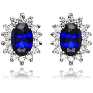 Oval 3.00 ct Blue Sapphire Princess Diana Style Earrings - Best Jewelry Deals