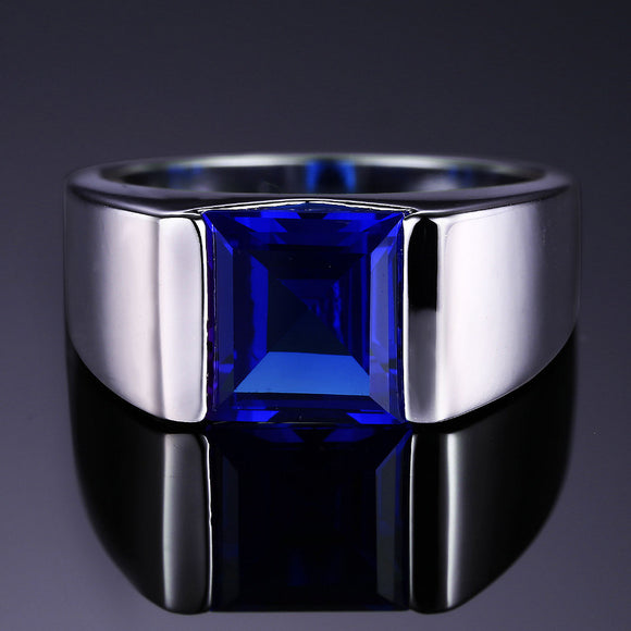 Men's Square 3.30 ct Blue Sapphire Ring - Best Jewelry Deals