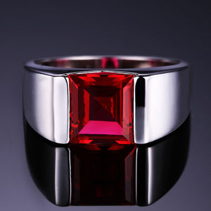 Men's Square 3.40 ct Ruby Ring - Best Jewelry Deals