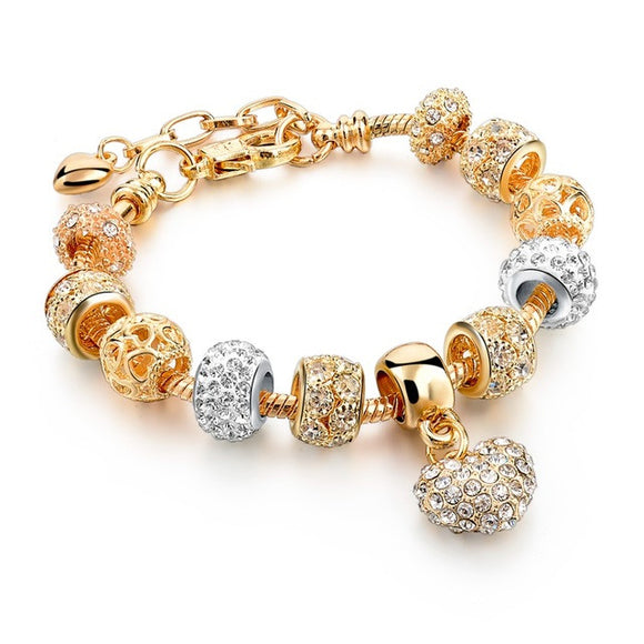 Pandora Inspired Heart Charm & Swarovski Crystal Gold-Plated Bracelet - Best Jewelry Deals