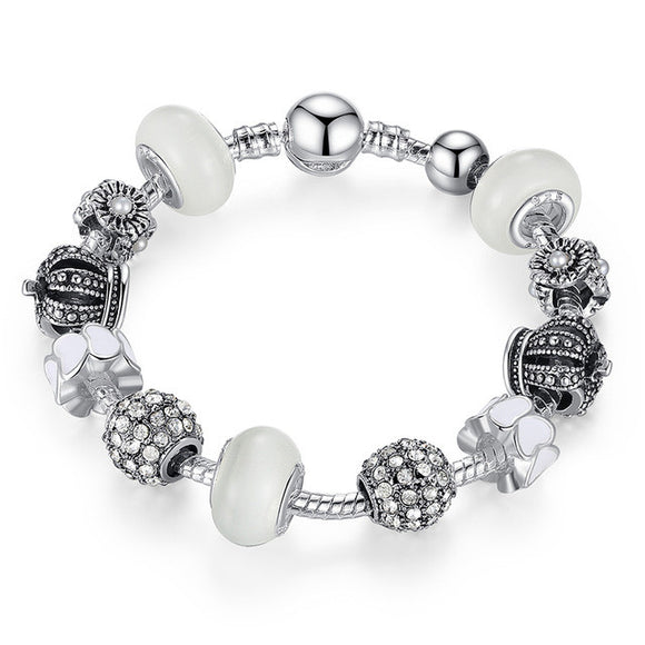 Pandora Inspired Royal Crown Black & White Swarovski Crystal Bracelet - Best Jewelry Deals