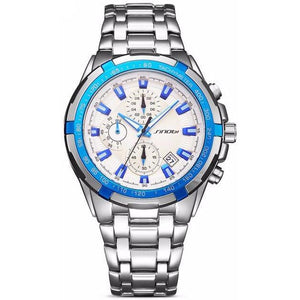 Sinobi Luxury Brand Blue & White Men's Chronograph Sports Wristwatch - Best Jewelry Deals