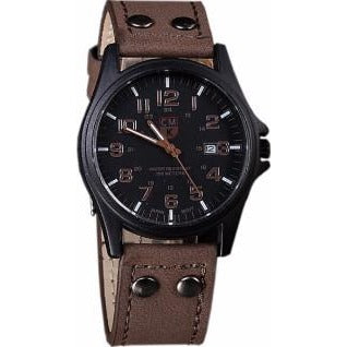 Men's CMK Brand Black & Coffee Leather Date Wrist Watch - Best Jewelry Deals