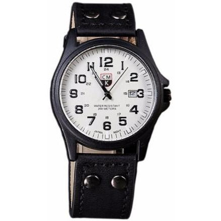 Men's CMK Brand Black & White Leather Date Wrist Watch - Best Jewelry Deals