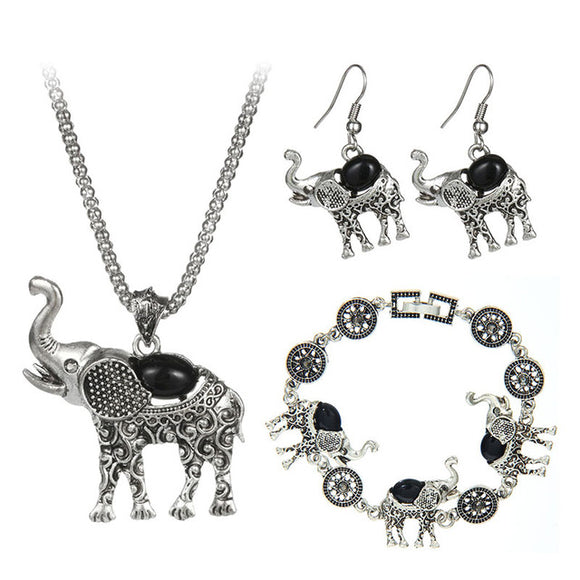 Vintage Bohemian Style Black Elephant Jewelry Set - Best Jewelry Deals