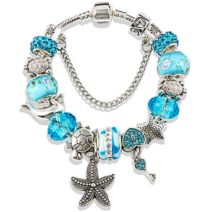 Pandora Inspired Charms of the Sea & Blue Swarovski Crystal Bracelet - Best Jewelry Deals