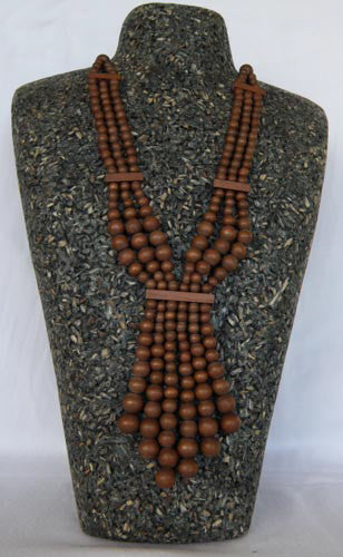 ZATINI DYED WOOD NECKLACE WITH DRAPED BEADS